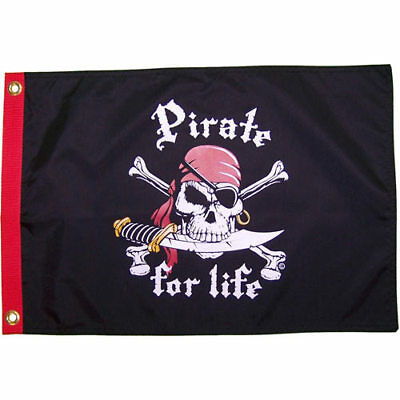 "Pirate For Life 12x18"" Pirate Flag Weatherproof Boat"