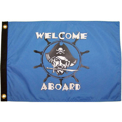 Welcome Aboard Pirate 12x18 Flag Weatherproof Boat