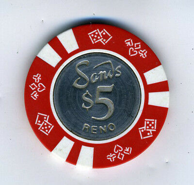 Old Five Dollar Poker Chip Sands Casino Reno NV