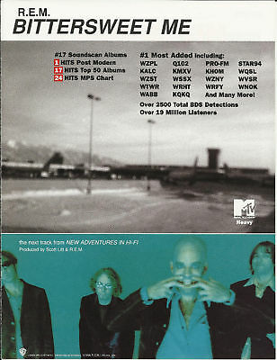R.E.M. Bittersweet Trade Ad POSTER of1996 Adventures CD