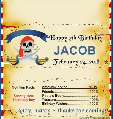 Pirate Personalized Birthday Party Candy Wrappers Favor