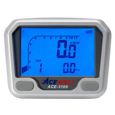 Acewell 3100 LCD Digital Motorcycle Car Buggy Tractor Speedometer & Tachometer