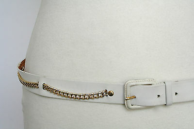 L - White leather & chain 80s vintage slim belt