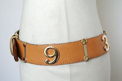 M - Tan vintage leather 90's  'gold numbers'  belt