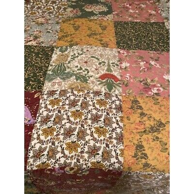 Beautiful 5 Piece Antique Vintage Red Rose Rust Soft Blue Pink Green Quilt Set