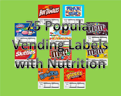 12 Vinyl Peel & Stick 2.5 x 2.5 Vending Label NUTRITION