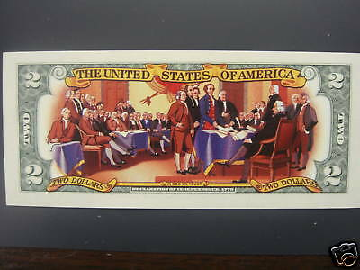 Colorized $2 Bill Signing Declaration of Independence