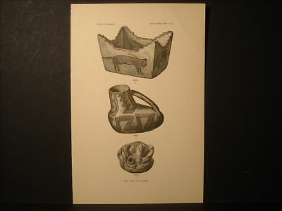 Zuni Vase And Canteen Engraving 1882
