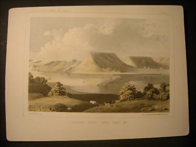 Canadian River, H. B. Mollhausen color litho 1854