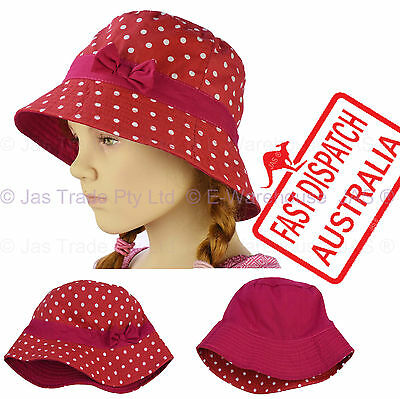 Kid Girl  Child Toddler Bucket Sunhat Sun Hat Cap Polka Dot Reversible Cotton