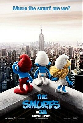 THE SMURFS - D/S Original Movie Poster One Sheet MINT