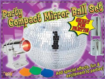 """Colorful Party Compact 8"""" MIRROR BALL Set w/ Spotlight"""
