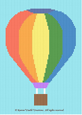 Crochet Pattern/Patterns - HOT AIR BALLOON Color Graph Baby Afghan Pattern *EASY