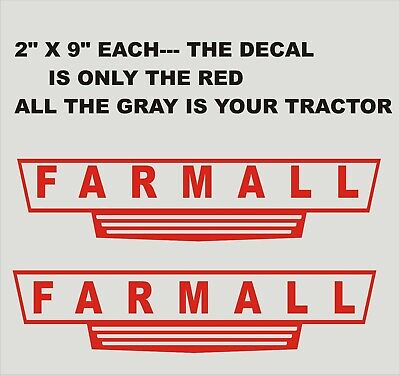 2-  FARMALL.. Red Vinyl Decals Stickers 2 X 9