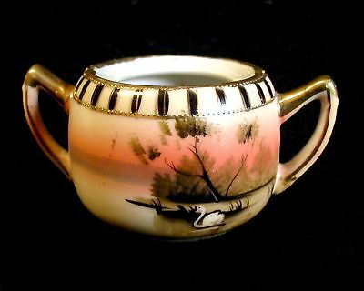 Vintage Small Porcelain Sugar Bowl Hand Painted MADE IN JAPAN White Swan No Lid