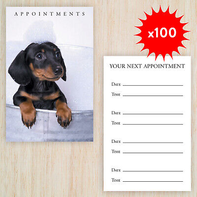 100 x Appointment Cards Dog Grooming Double sided FREE Storage Box & FREE POST!
