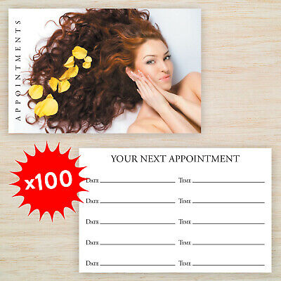 100 x Appointment Cards Hair Salon FREE Storage Box *Loyalty Cards Available*