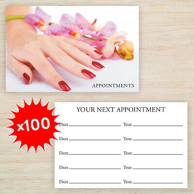 100 x Appointment Cards Nail Technician Manicure & storage box plus Freepost!
