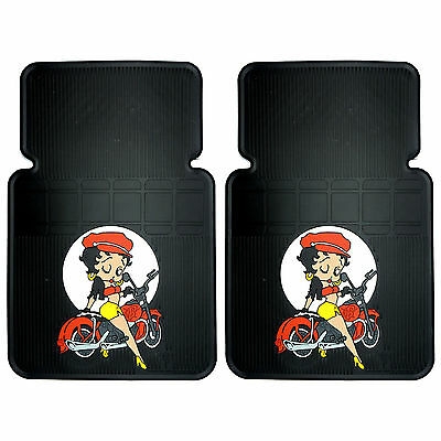 2PC Betty Boop Motorcycle Style Front Car Floor Mats