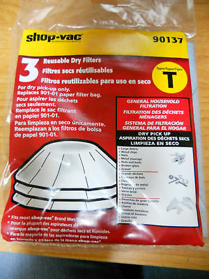 30 FILTERS! Shop Vac 901-37 Reusable Dry Filters 10 total 3 Packs NEW! SEALED!