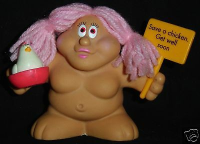 GET WELL SOON Chubby Lady Troll Doll SAVE A CHICKEN New