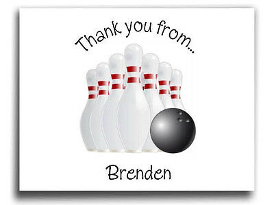 Personalized Bowling Birthday Party Thank you cards, note cards