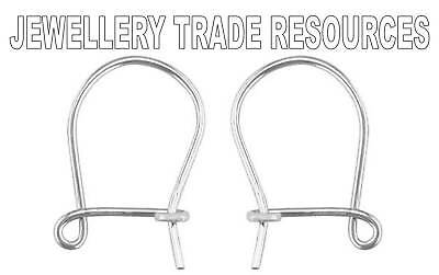 18ct White Gold Earring Ear Wires Safety Drop Hooks Jewellery Making