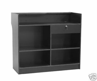 Register Black Stand Display Case Store Fixture Wood Knocked Down #LTC4BK