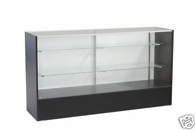 Glass Wood Black Showcase Display Case Store Fixture Knocked Down #SC6BK