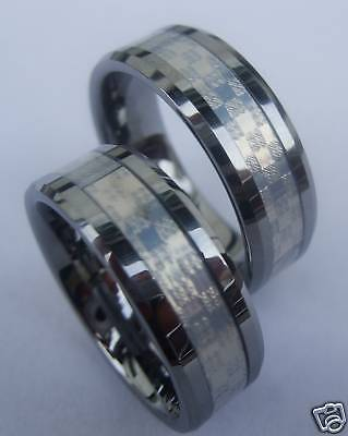 2 Wolfram/tungsten Carbide Partner Ringe - Carbonfiber Weiss  - Titanhart  - 21#