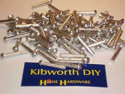 "25 x  1/8"" x 5/8"" ROUND HEAD SOLID ALUMINIUM RIVETS RESTORE ENGINEER VEHICLE"