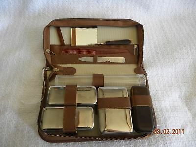 Vintage Leather Travel Vanity Mens Grooming Case