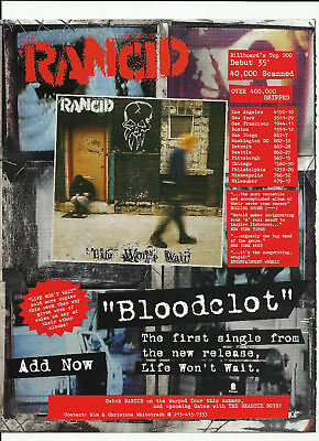 RANCID Bloodclot TRADE AD POSTER for Life Won't Wait CD