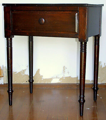 "Night stand, one drawer, early 1800, Sheraton, turned leg, 24"" w,"