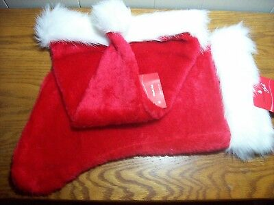 "Christmas Plush Santa Hat 18"" & Stocking 19"" NWT"
