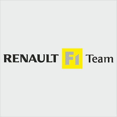 1 x Renault F1 Team Sticker Decal New Style - BLACK TEXT (Clio, megane, sport)