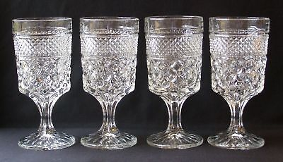 """4 Vintage Anchor Hocking Wexford Pattern Water Goblets 6-5/8"""" T"""