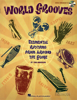 World Grooves Rhythms Drum Percussion Music Book +CD