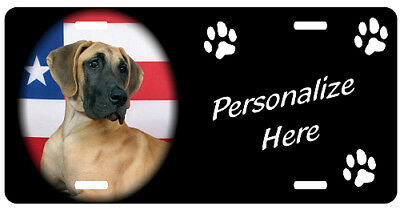 Great Dane   uncropped   Personalized Pet  License Plate