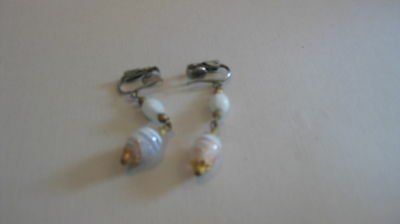 Vintage White Glass Bead Drop Clip Earrings