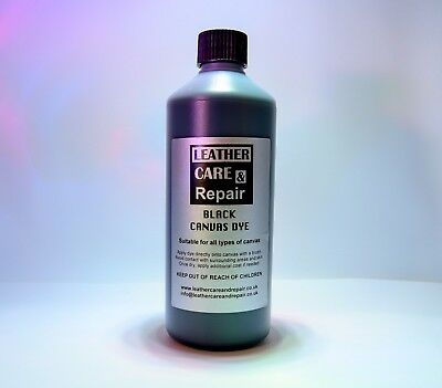 Black Convertible Roof Canvas Dye / Soft Top Reviver Restorer Colour - 500Ml