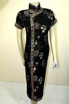 Asian Chinese Woman Silk Long Dress QiPao Black JBCQ