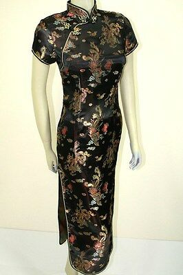 Asian Chinese Woman long Silk Dress QiPao Black DXCQ