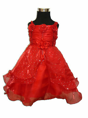 New Baby Girls Christening Wedding Party Dress Red Pink White
