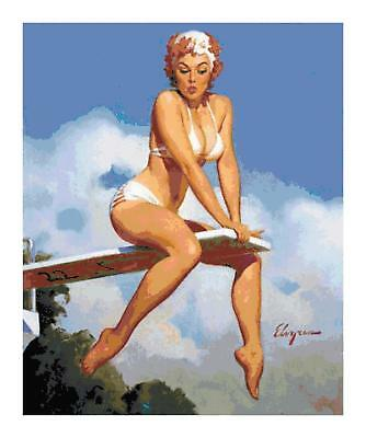 Pin Up Girl With Burnt Muffins 50/'s Counted Cross-Stitch Pattern Needlepoint