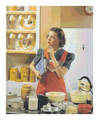 Retro Girl in 1950's Kitchen DIGITAL Counted Cross-Stitch Pattern Needlepoint