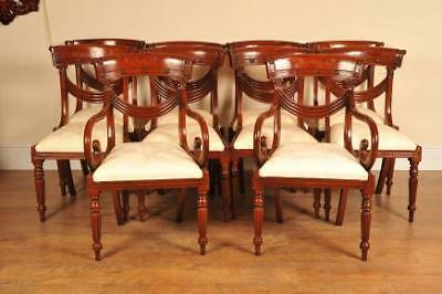 8 Mahogany Regency Dining Chairs Arm Chair Diners Seats