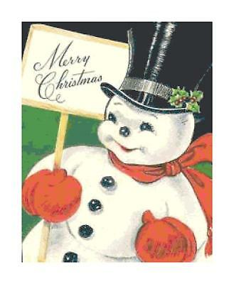 Retro Merry Christmas Snowman DIGITAL Counted Cross-Stitch Pattern Needlepoint
