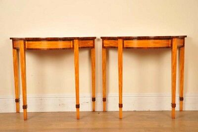 Regency Console Tables Pair Satinwood Inlay Hall Table