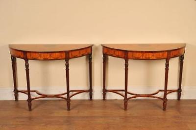 Pair Regency Adams Console Tables Painted Hall Table